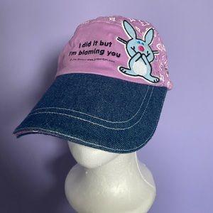 Y2K Happy Bunny Denim & Purple Hat